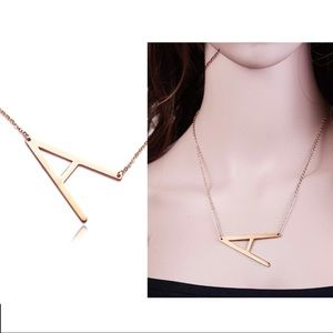 Large 'A' Rose Gold Filled 14k Initials Necklace